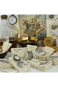 Sacchettino in tessuto personalizzato, porta bustina di tè, con le grafiche di Alice nel paese delle meraviglie.