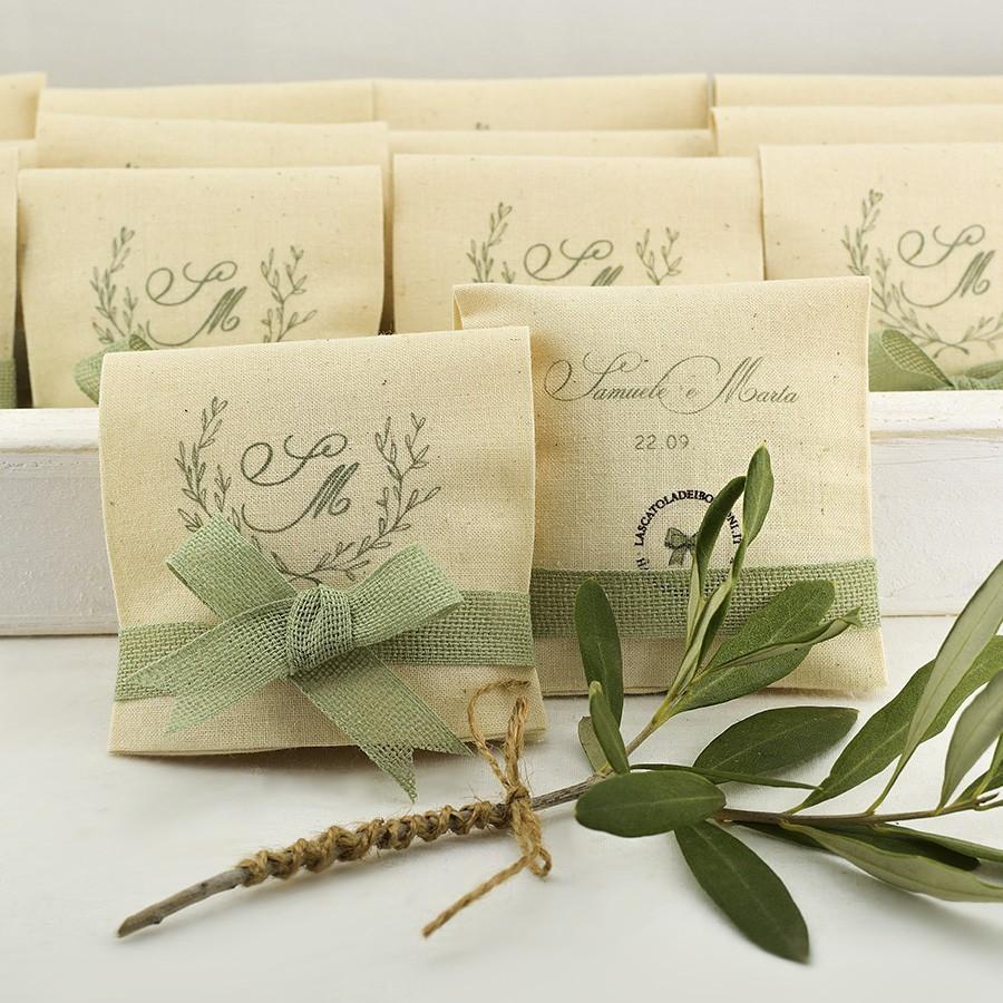 Bomboniere per matrimonio in cotone avorio