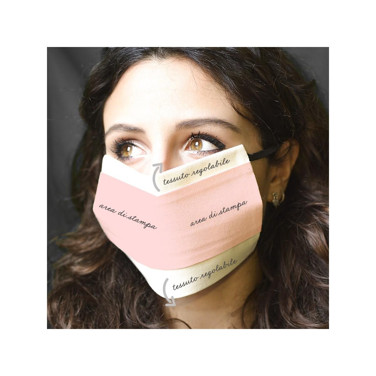 Mascherina personalizzabile realizzata in cotone 100% lavabile
